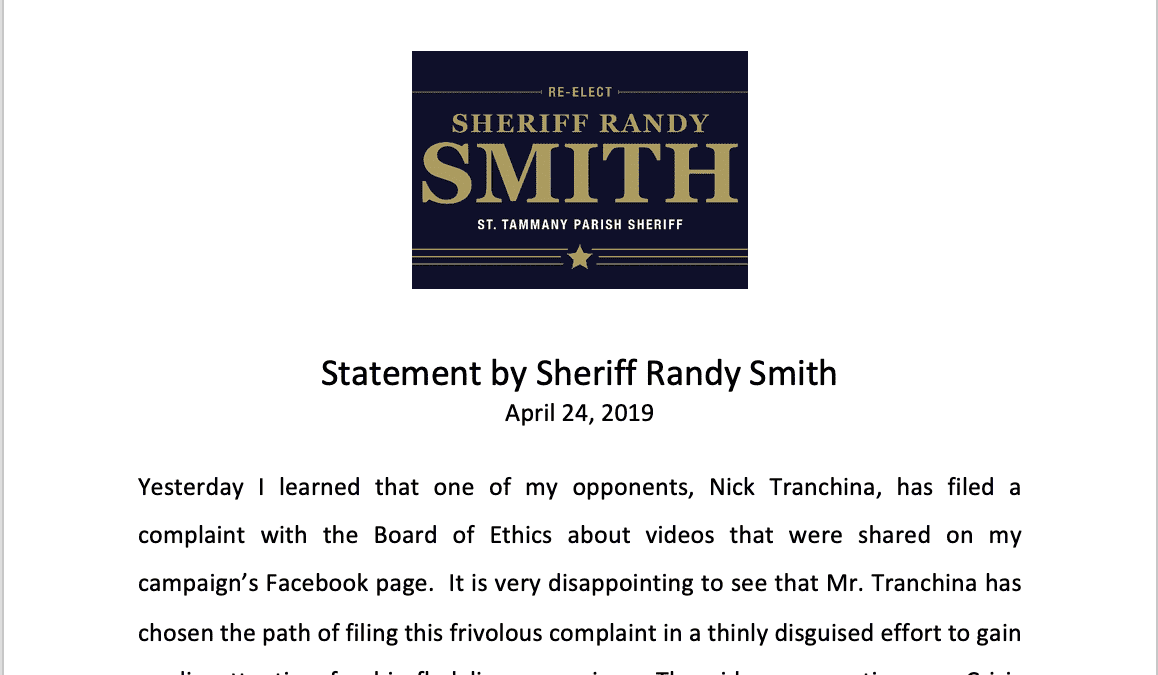 Statement by Sheriff Randy Smith
