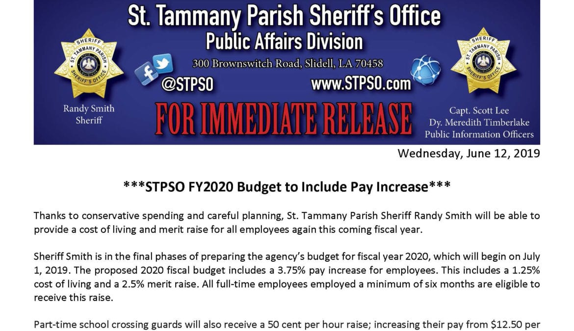 STPSO FY2020 Budget to Include Pay Increase