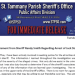Statement from Sheriff Randy Smith Regarding the Arrest of Jack Strain