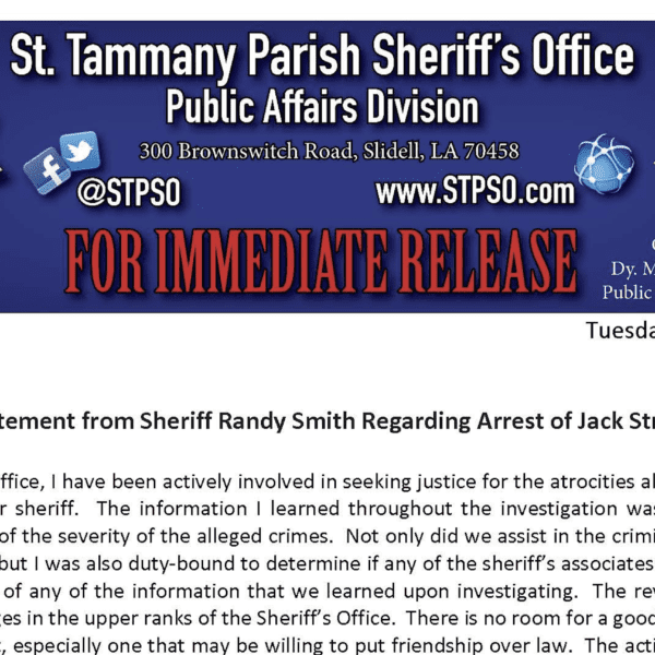 Statement from Sheriff Randy Smith Regarding the Arrest of Jack Strain